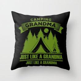 Camping Grandma Throw Pillow