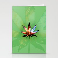 marijuana Stationery Cards featuring Marijuana Leaf - Design 1 by Spooky Dooky