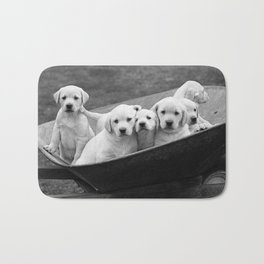 Labs Puppies In A Wheelbarrow Bath Mat