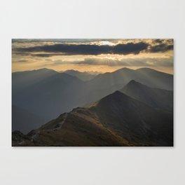 Sunset on the peak Canvas Print