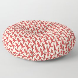 Little Rockets Retro Mid Mod Pattern in Red, Light Olive Green, and Cream Floor Pillow