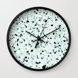 'Speckle Party' Navy Mint Black White Dots Speckle Terrazzo Pattern Wall Clock