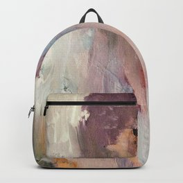 Gentle Beauty [2] - an elegant acrylic piece in deep purple, red, gold, and white Backpack