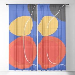 red yellow black blue abstract zen minimal art Sheer Curtain
