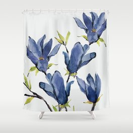 Blue Flowers 3 Shower Curtain