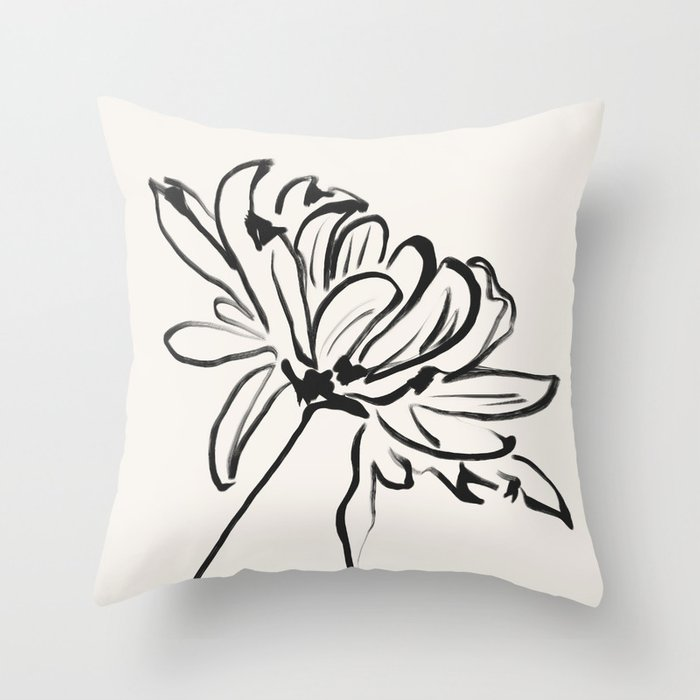 sketch art flower Throw Pillow
