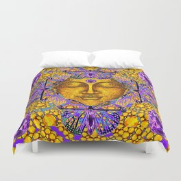 Purple Amethyst Butterfly Love & Gold Face Duvet Cover