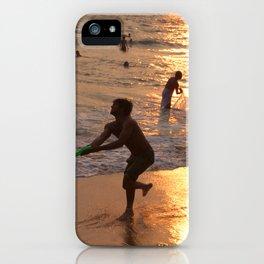 Frisbee Thrower on Varkala Beach at Sunset iPhone Case