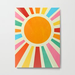 Retro Sunrise: Rainbow Edition Metal Print