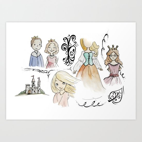 Princess Sketches Art Print