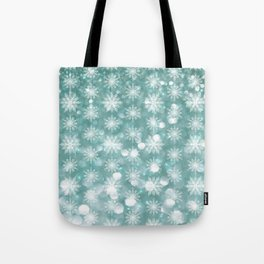 Holiday Teal and Flurries Tote Bag