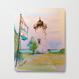 East Chop (Telegraph Hill) Lighthouse Martha's Vineyard Watercolor Metal Print