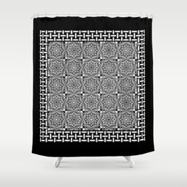Black and White Lace Mandala and Basket Weave Tile Shower Curtain