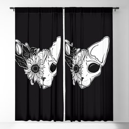 Sunflower Sphynx Skull - Hairless Cat - Creepy Kitten Blackout Curtain