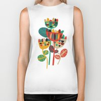 budi Biker Tanks featuring Wild Flowers by Picomodi