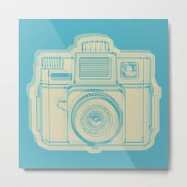 I Still Shoot Film Holga Logo - Turquoise/Tan Metal Print