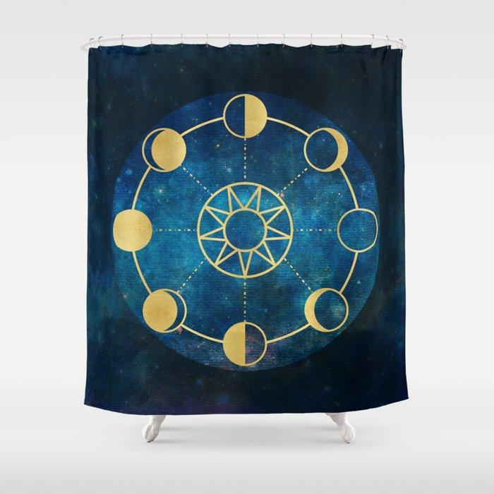 Gold Moon Phases Sun Stars Night Sky Navy Blue Shower Curtain