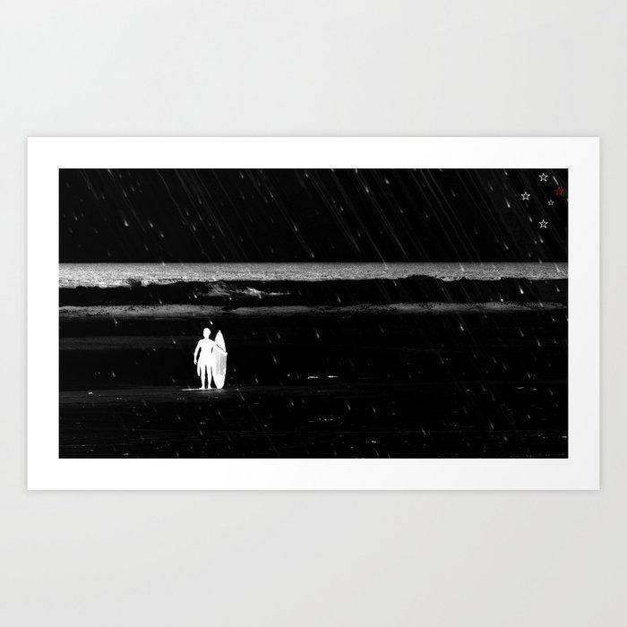 Rainy Surf Day Art Print