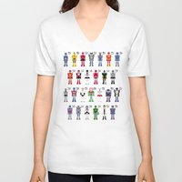 transformers V-neck T-shirts featuring Transformers Alphabet by PixelPower