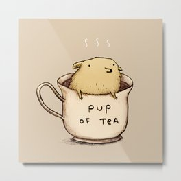 Pup of Tea Metal Print