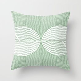 Minimal Tropical Leaves Pastel Green Throw Pillow