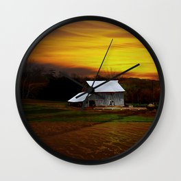 Barn at sunset Wall Clock