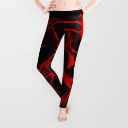 Red electric flowers on black background Leggings