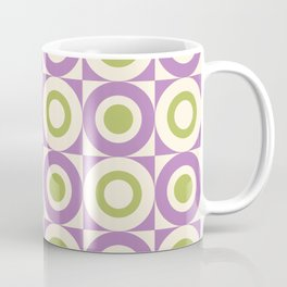 Mid Century Square and Circle Pattern 541 Lavender and Chartreuse Coffee Mug