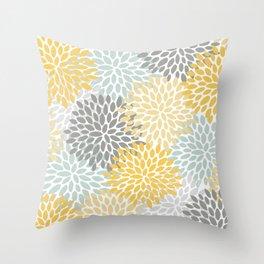 Floral Throw Pillow, Yellow, Aqua and Grey, Floral, Colorful Pillows Throw Pillow
