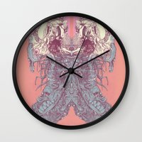 insect Wall Clocks featuring insect by Maethawee Chiraphong