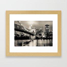 Cincinnati Ohio Skyline Cityscape Downtown - Monochrome Framed Art Print