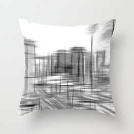 pencil drawing buildings in the city in black and white Throw Pillow