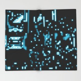 Neon circuits Throw Blanket