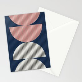 Abstraction Shapes 18 in Navy Blue Dusty Pink (Moon Phase Abstract) Stationery Cards