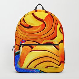 Dramatic abstract geometric infinite celestial waves, water, swirl pattern design in multicolors Backpack