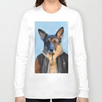 german shepherd Long Sleeve T-shirts featuring Chic German Shepherd by Jai Johnson