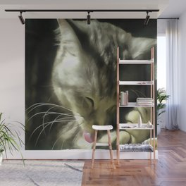 Soft And Gentle Fur And Purr Of A Grey Cat Wall Mural