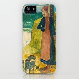 Paul Gauguin - Breton Girl Spinning iPhone Case