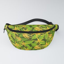 Ylang Ylang Exotic Scented Flowers and Leaves Pattern Fanny Pack