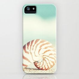 Seashell Beach Photography, Shell Coastal Ocean, Teal Turquoise Aqua Art, Nautilus Seaside Photo iPhone Case