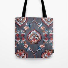 Floral Ogees in Red & Blue on Grey Tote Bag