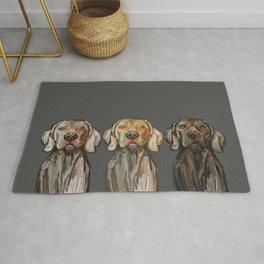 Triple Hunting Dogs in Dark Rug