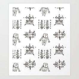 Papa Legba + Baron Samedi + Gran Bwa + Damballah-Wedo Voodoo Veve Symbols in White Art Print