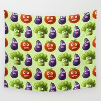 vegetables Wall Tapestries featuring Funny Cartoon Vegetables by Boriana Giormova