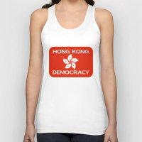 hong kong Tank Tops featuring Democracy Hong Kong Flag by mailboxdisco