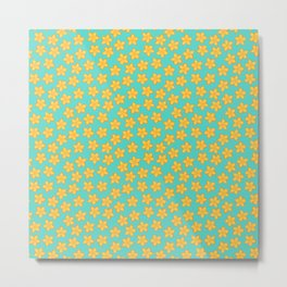 Simple Yellow Flowers on Turquoise Metal Print