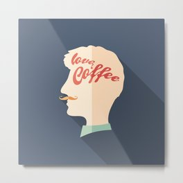 Love Coffee Head Metal Print
