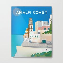 Amalfi Coast, Italy - Skyline Illustration by Loose Petals Metal Print