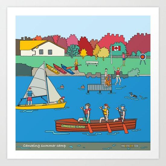 Canoeing Summer Camp Art Print