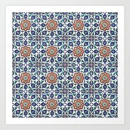 Iznik Tile Pattern Red Blue White Art Print